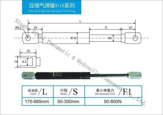 High - class carbon / Stainless Steel Gas Springs With Nitrogen Gas Piston